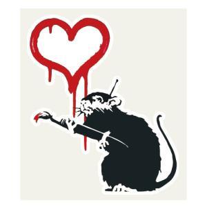 Love Rat ラブラット Banksy バンクシー ステッカー 106×124ミリ シール 車用...