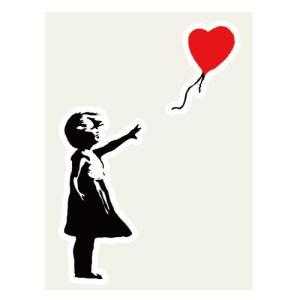 風船少女 ステッカー 84×123ミリ シール Girl With Balloon Banksy バ...