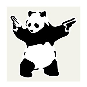 パンダ DESTROY PANDA ステッカー 112×113ミリ シール Banksy バンクシー...