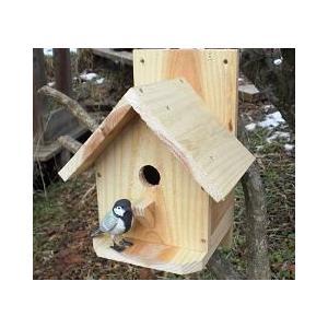 小鳥の巣箱 シジュウカラ邸 無塗装タイプ シュロ縄付き 完成品 シジュウカラ 小鳥