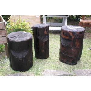 焼杉 丸太 小 イス ウレタン仕上げ ガーデン 椅子|moriyamuku-com