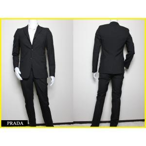 プラダ PRADA 100%ウール3つボタンスーツ 黒 メン...