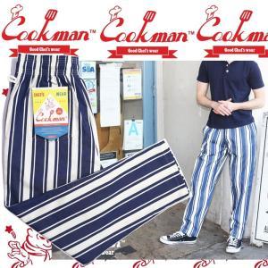 COOKMAN Chef Pants Awning Stripe Navy クックマン シェフパンツ|moshpunx
