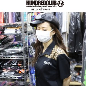 HUNDREDCLUB ヒョウ柄ワークシャツ ハンドレッドクラブ HELLCATPUNKS ヘルキャットパンクス|moshpunx