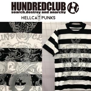 HUNDREDCLUB ボーダーTシャツ ハンドレッドクラブ HELLCATPUNKS ヘルキャットパンクス|moshpunx