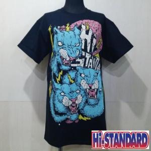 Hi-STANDARD 3WOLVES TEE ハイスタンダード Tシャツ BLACK|moshpunx