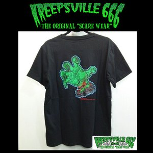 KREEPSVILLE666 KREEPYZOMBIE HAND TEE クリープスヴィル666 Tシャツ ゾンビ ハンド BLACK|moshpunx