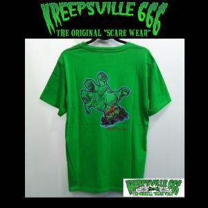 KREEPSVILLE666 KREEPYZOMBIE HAND TEE クリープスヴィル666 Tシャツ ゾンビ ハンド GREEN|moshpunx