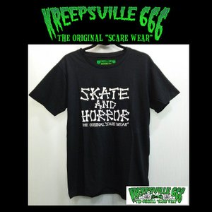 KREEPSVILLE666 SKATE AND HORROR TEE クリープスヴィル666 Tシャツ BLACK|moshpunx