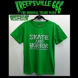 KREEPSVILLE666 SKATE AND HORROR TEE クリープスヴィル666 Tシャツ GREEN|moshpunx