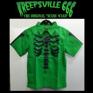 KREEPSVILLE666 スケルボーンワークシャツ クリープスヴィル666 シャツ トップス スカル|moshpunx