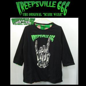 KREEPSVILLE666 FINGER リバーシブルTシャツ クリープスヴィル666 7分袖 ラグラン|moshpunx