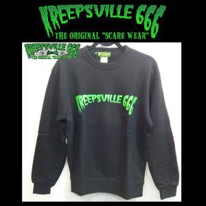 KREEPSVILLE666 ロゴプリントトレーナー クリープスヴィル666 トップス プルオーバー BLACK/GREEN moshpunx