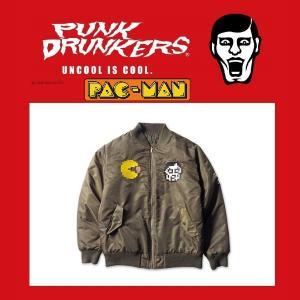 PUNKDRUNKERS x PACMAN PAC-MA-1 KAHKI パックマン パンクドランカーズ リバーシブル|moshpunx