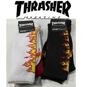 THRASHER FLAME LOGO HI SOCKS 3PAIRS スラッシャー ハイソックス 3足SET|moshpunx