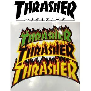 THRASHER FLAME LOGO LARGE STICKER スラッシャー フレイムロゴ ビッグステッカー|moshpunx
