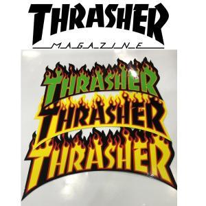 THRASHER FLAME LOGO MEDIUM STICKER スラッシャー フレイムロゴ ミディアムステッカー|moshpunx