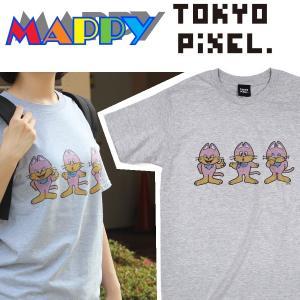 TOKYO PIXEL × マッピー ミューキーズ Tシャツ グレー ナムコ  |moshpunx