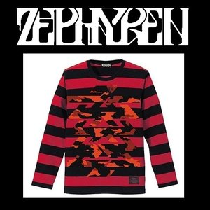 ZEPHYREN BORDER L/S TEE -Cut the world- BLACK x RED ゼファレン ボーダー ロングTシャツ|moshpunx
