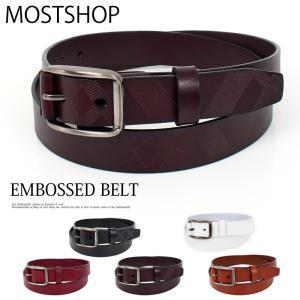 ベルト メンズ エンボス 幾何学 カジュアル メンズファッション 通販 小物 mostshop
