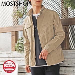 ミリタリージャケット メンズ M-65 ブルゾン コットンツイル ストレッチ素材 無地 フライトジャケット 春新作 春服|mostshop