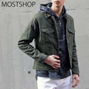ジャケット メンズ Gジャン ジージャン ストレッチ ブルゾン ツイル無地 長袖 ライトアウター トラッカージャケット|mostshop
