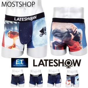 メンズボクサーパンツ E.T.×LATESHOW レイトショー 男性用下着 水着インナー メンズインナー エステル素材 ストレッチ素材 総柄|mostshop