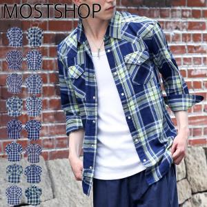 メンズシャツ チェックシャツ ウエスタンシャツ インディゴ先染め 綿100% 長袖 7分袖 アメカジ ワークシャツ|mostshop