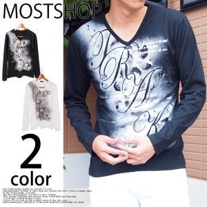 Tシャツ メンズ ロングTシャツ 長袖 Vネック プリントTシャツ 文字 ロゴ プリント トップス mostshop