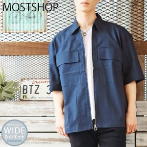 シャツ メンズ 7分袖 七分袖 メンズシャツ 無地シャツ ブロード 花柄刺繍|mostshop