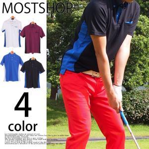 ゴルフ ポロシャツ ゴルフウェア メンズウェア シャツ ポロシャツ 無地 半袖 ボタンダウン スポーツ スコッチガード|mostshop