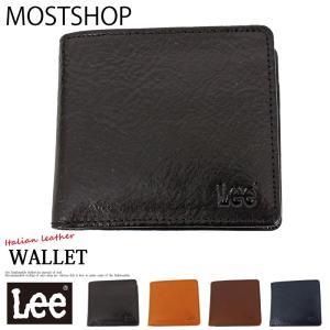 Lee リー イタリアンレザー 2つ折財布 二つ折り財布 メンズ 牛革 イタリア革 本革 サイフ さいふ コンパクト メンズファッション メンズ通販|mostshop