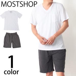 メンズセットアップ 上下セット ポケット付 Vネック 無地 半袖 Tシャツ ティーシャツ スウェットショートパンツ ショーツ ルームウェアー 部屋着 mostshop