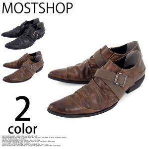 カジュアルシューズ メンズ 短靴 ドレスシューズ ローカット 靴 シューズ シークレットシューズ フェイクレザー ベルト ドレープ ロングノーズ|mostshop