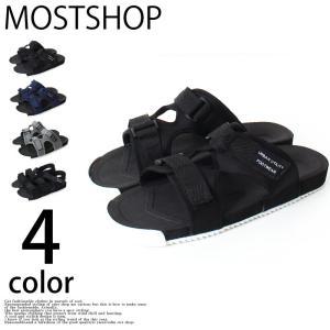 サンダル メンズ スポーツサンダル スポサン アウトドアサンダル無地 シューズ 靴 軽量 夏 マジックテープ 黒 ブラック メッシュ ストラップ ベルクロ|mostshop