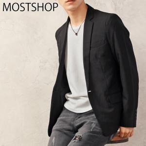 テーラードジャケット メンズ TRストレッチ 1つ釦 シングル テーラードジャケット 無地 ストライプ 黒 ブラック グレー グレンチェック ネイビー|mostshop