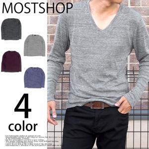 カットソー メンズ 長袖Tシャツ ロンT ロングTシャツ Vネック カットソー 無地 シャドーボーダー トップス mostshop