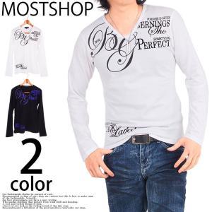 ロングTシャツ メンズ ロンT 長袖Tシャツ Vネック ラメプリントTシャツ トップス mostshop
