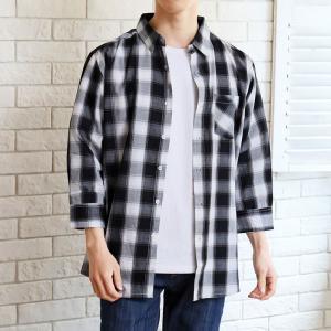 チェックシャツ メンズ 7分袖 シャツ 七分袖 ボタンダウン カジュアルシャツ マドラスチェック柄 オンブレー 半袖 夏|mostshop