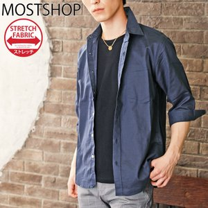 シャツ メンズ リネンシャツ カジュアルシャツ 綿麻シャツ 7分袖 無地 七分袖 半袖 白シャツ 夏|mostshop