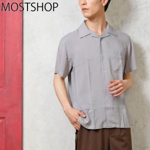 メンズシャツ オープンカラーシャツ 開襟シャツ レーヨン素材 無地 半袖 ドレスシャツ カジュアルシャツ 夏 白シャツ トップス|mostshop
