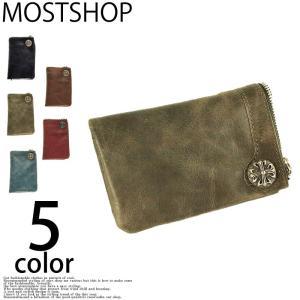 二つ折り財布 メンズ 二つ折り財布 本革 レザー コンチョ 財布 ウォレット|mostshop