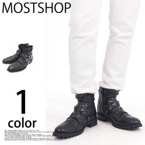 ブーツ メンズ エンジニアブーツ メンズ ロングブーツ クロスベルト フェイクレザー ロック お兄系 ブラック 黒|mostshop