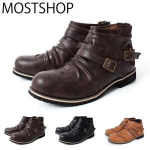 ブーツ メンズ ショートブーツ エンジニアブーツ ワークブーツ フェイクレザー バックジップ ファスナー 靴 シューズ|mostshop