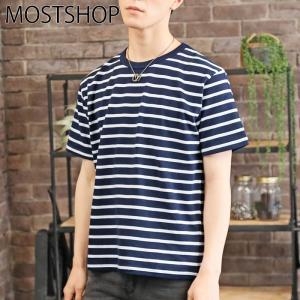 ボーダーTシャツ メンズ 半袖Tシャツ パネルボーダー Vネック カットソー ランダムボーダー 春夏 マリンボーダー mostshop