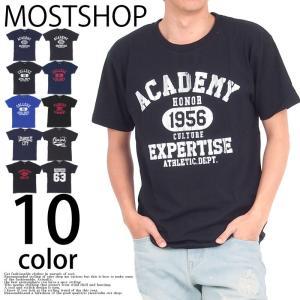Tシャツ メンズ 半袖Tシャツ アメカジ カレッジプリントTシャツ クルーネック カットソー ロゴT 文字 mostshop