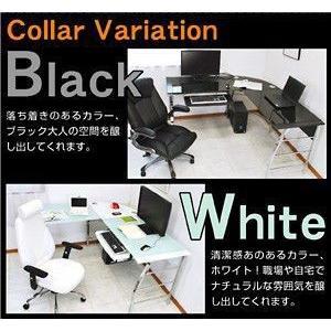 パソコンデスク ガラスPCデスク  ゼウス+デクシアセット-ART L型 オフィスチェアー ワーキングデスク|mote-kagu|02