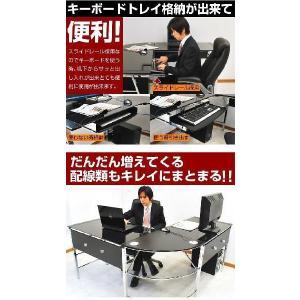 パソコンデスク ガラスPCデスク  ゼウス+デクシアセット-ART L型 オフィスチェアー ワーキングデスク|mote-kagu|05