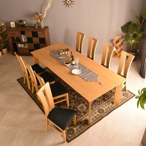 ダイニングテーブル リビングテーブル 送料無料 オーク材 ミッドセンチュリー 食卓テーブル 240cm幅 おしゃれ北欧 英国 デザイン 快適 洋風 マリアン9点|mote-kagu