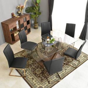 【送料無料・開梱設置付】強化ガラス ダイニングテーブル7点セット  ミッドセンチュリー 170cm幅 おしゃれ北欧 英国 デザイン 洋風 シナモン7点|mote-kagu